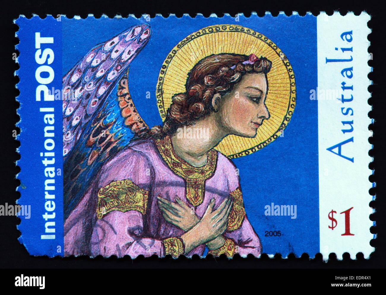 Utilizado y el matasellos Australia / sello australiano puesto internacional $1 2005 Foto de stock