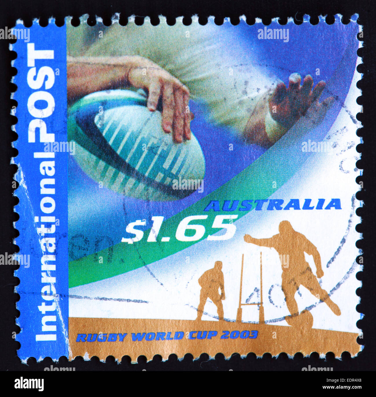 Utilizado y el matasellos Australia / sello australiano $1.65 la Rugby World Cup 2003 Foto de stock