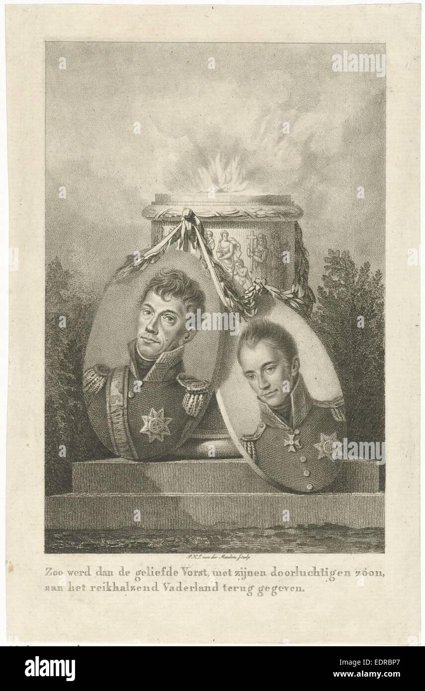 Oferta pilar con los retratos del rey Guillermo I y el Príncipe Heredero Willem II, Pieter van der Meulen, Imagen De Stock