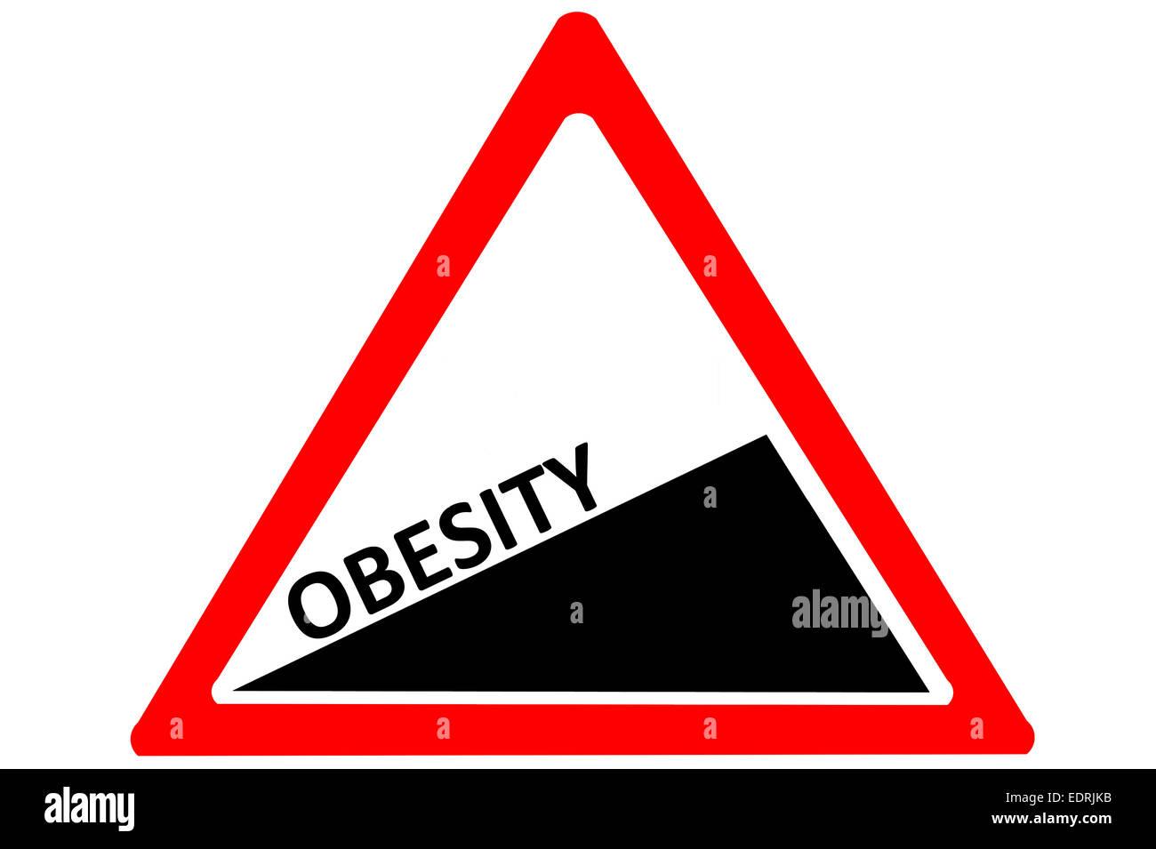 La obesidad aumentando advertencia señales de carretera aislado sobre fondo blanco. Imagen De Stock