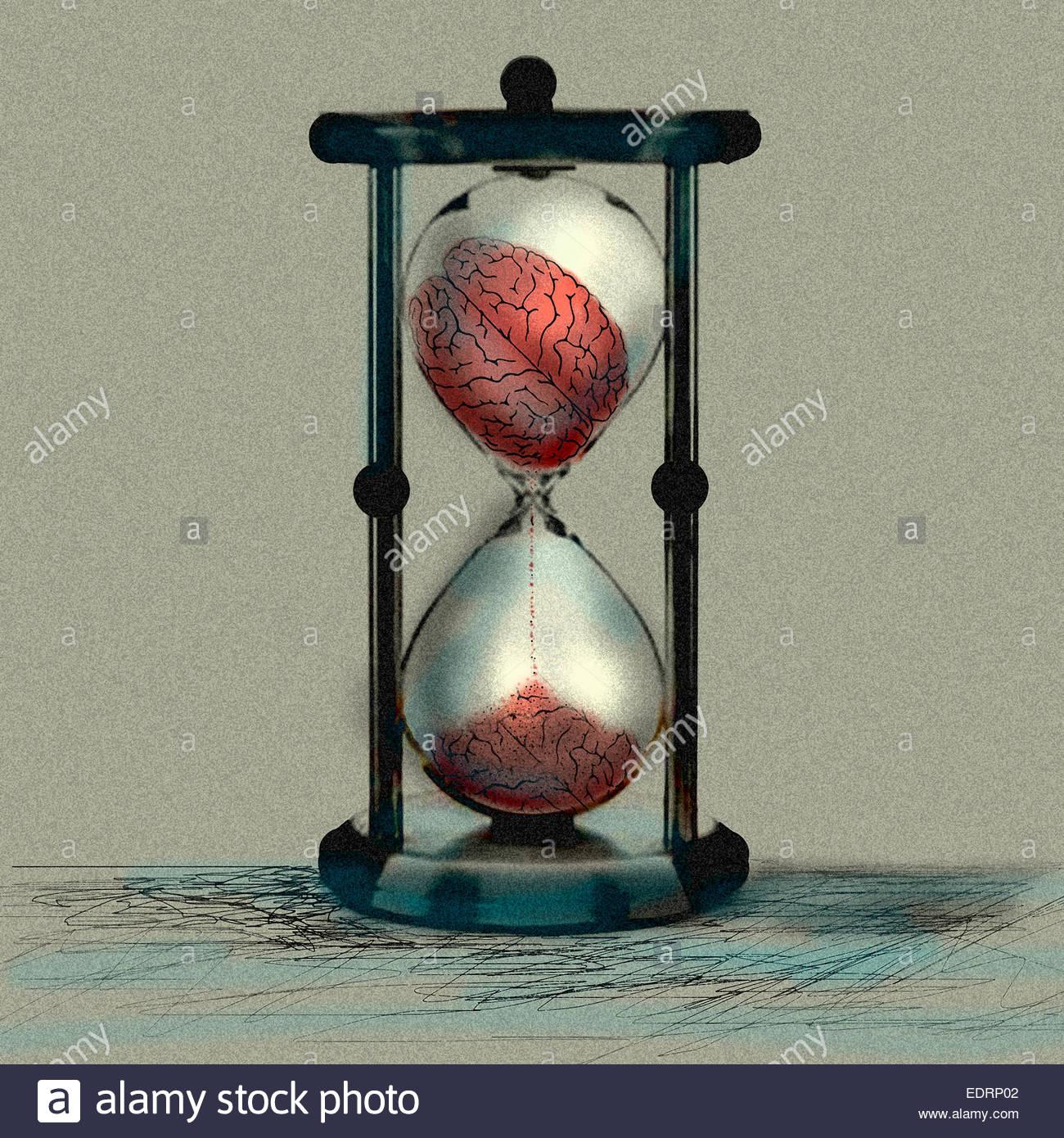 Cerebro desmoronando en reloj de arena Imagen De Stock