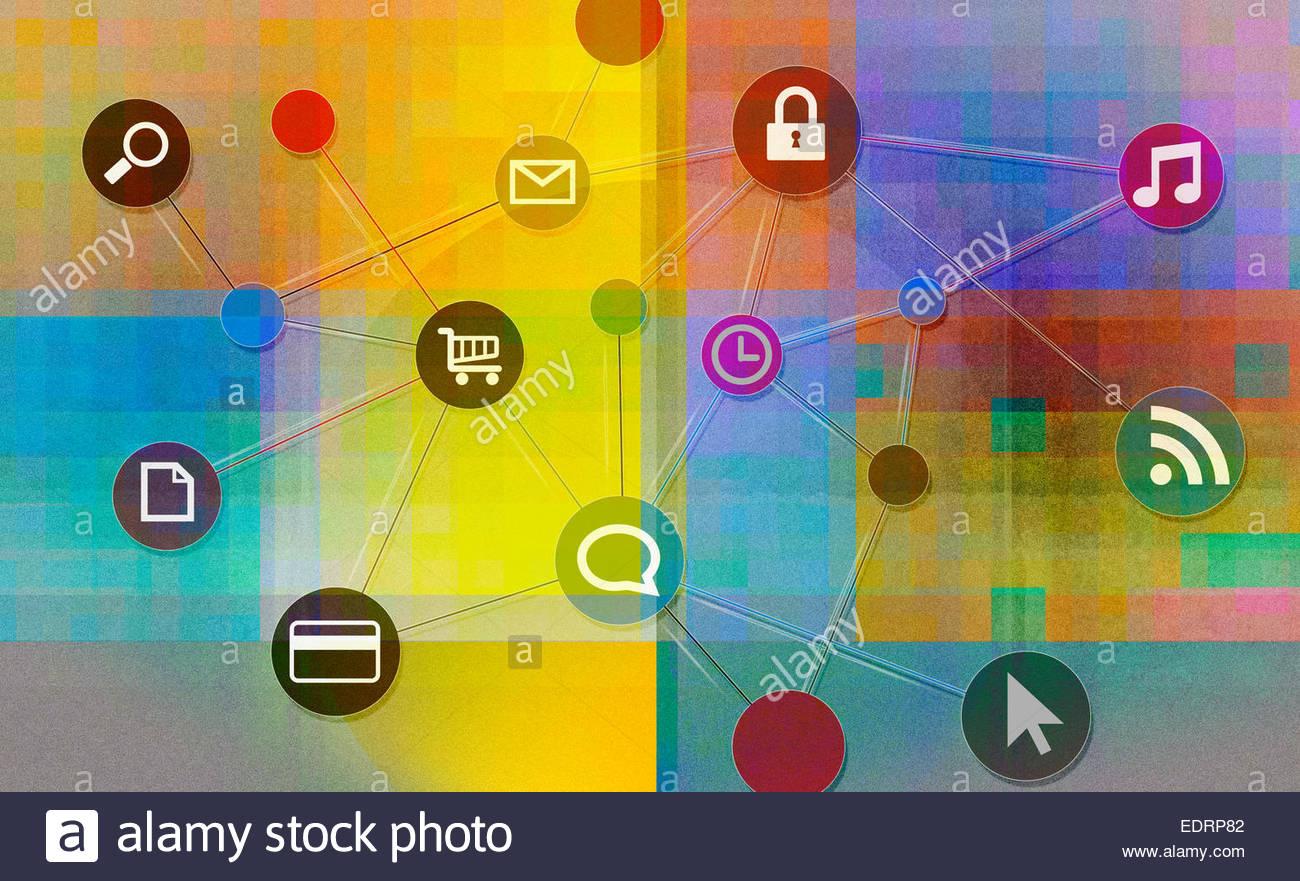 Conectado a red de internet iconos Imagen De Stock