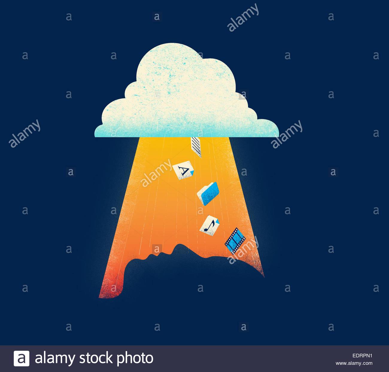 Iconos de cloud computing que caen hacia el perfil de la cabeza del hombre. Imagen De Stock