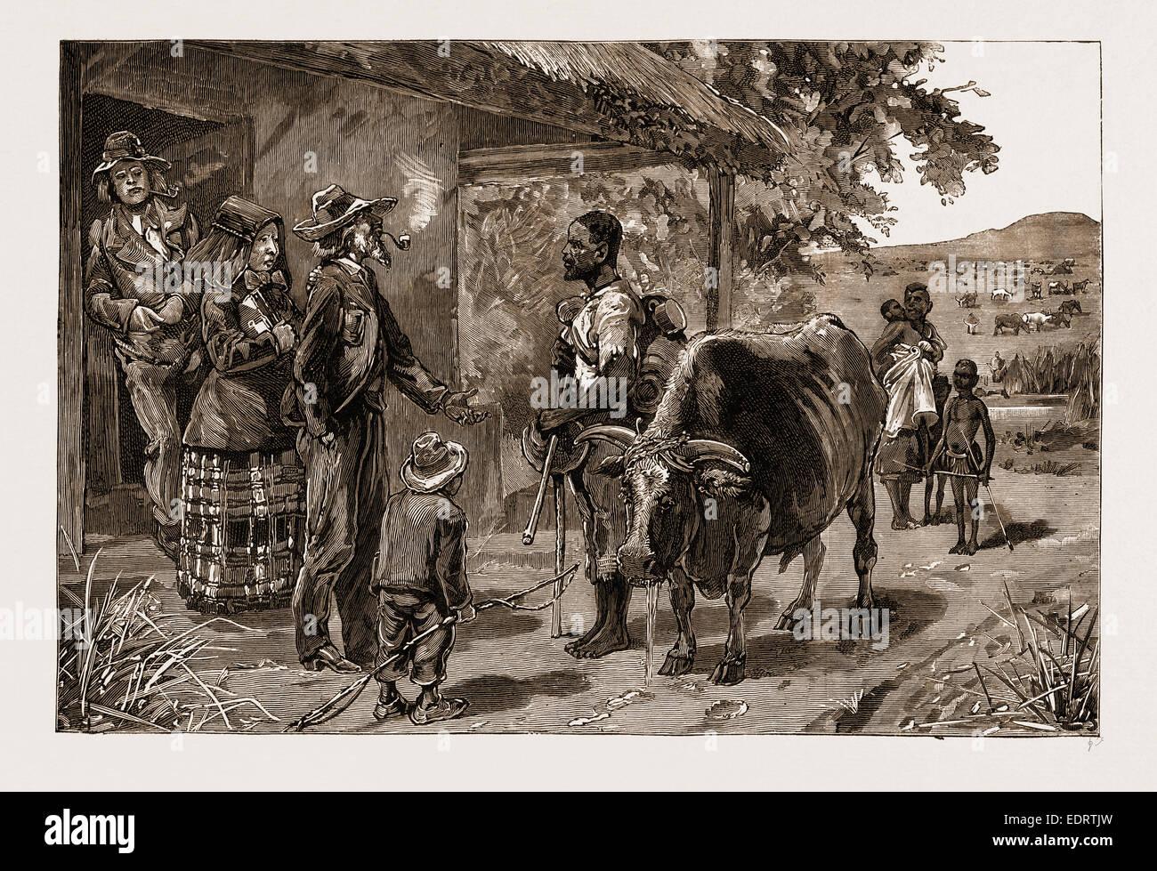 Los BOERS y su tratamiento de los negros: Dos años de salario en el Transvaal, Sudáfrica, 1883 Imagen De Stock