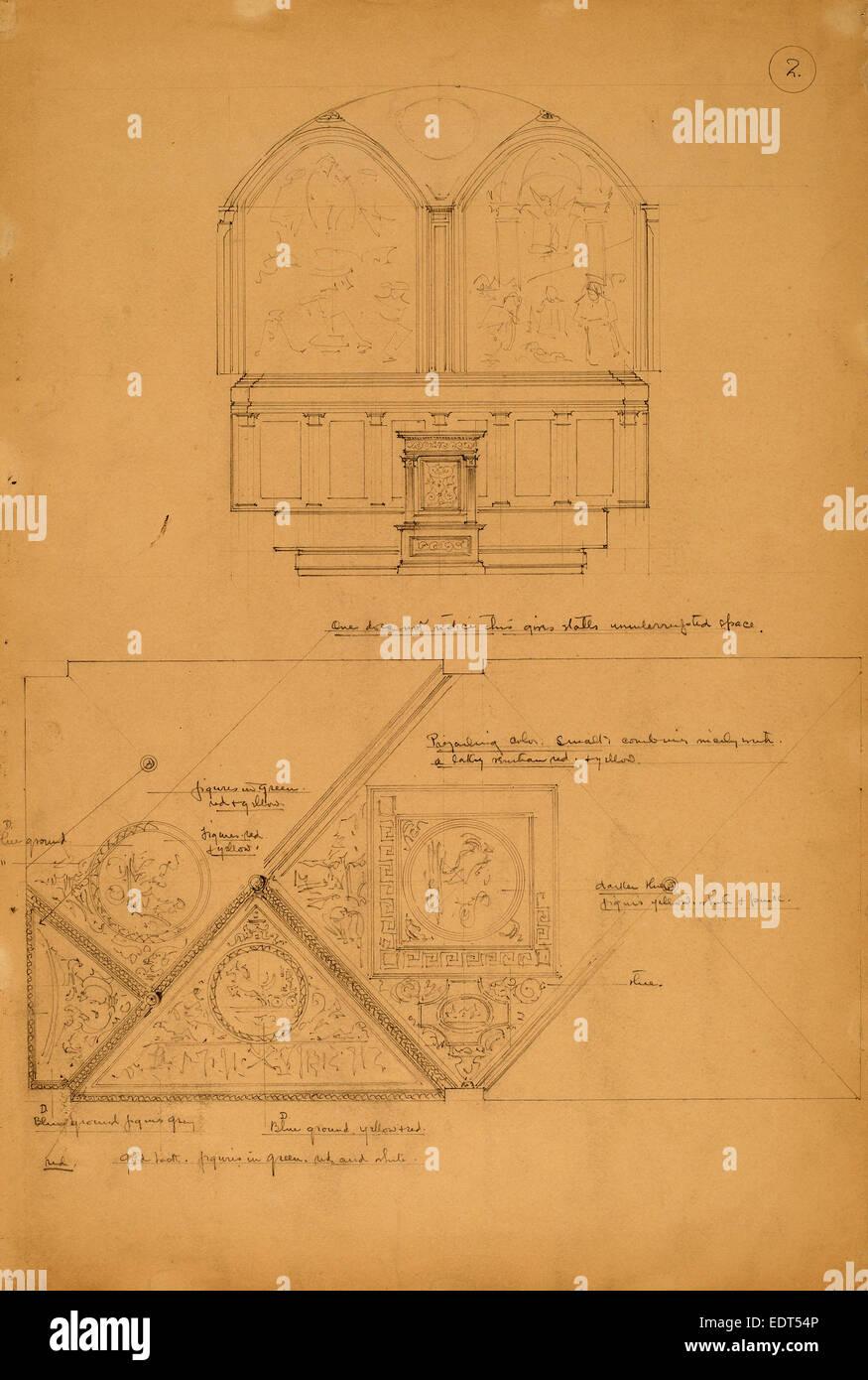 John Russell Pope, Estudio de un retablo y los paneles del techo, Americana, 1874 - 1937, d. 1896, grafito Imagen De Stock