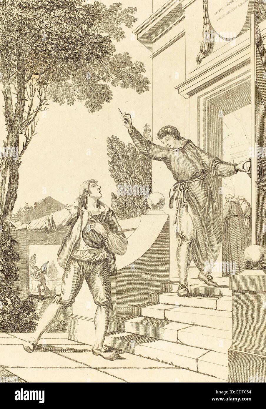 Francés del siglo XVIII, Alix malade, grabado Foto de stock