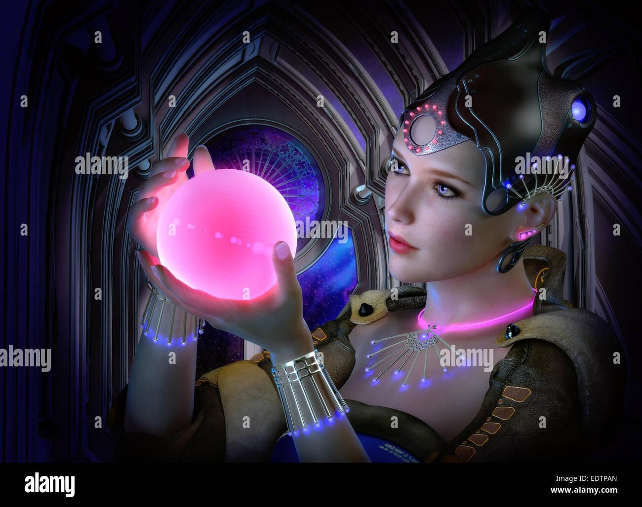 Gráficos 3D por computadora del retrato de una mujer con la ropa y las joyas estilo de ciencia ficción y una brillante Foto de stock
