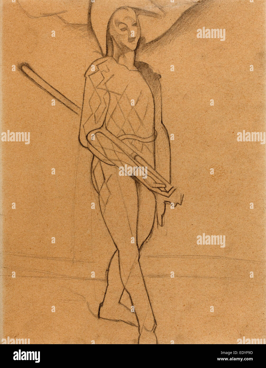 Juan Gris después de Paul Cézanne, Arlequín, Español, 1887 - 1927, 1916, Grafito sobre papel Imagen De Stock