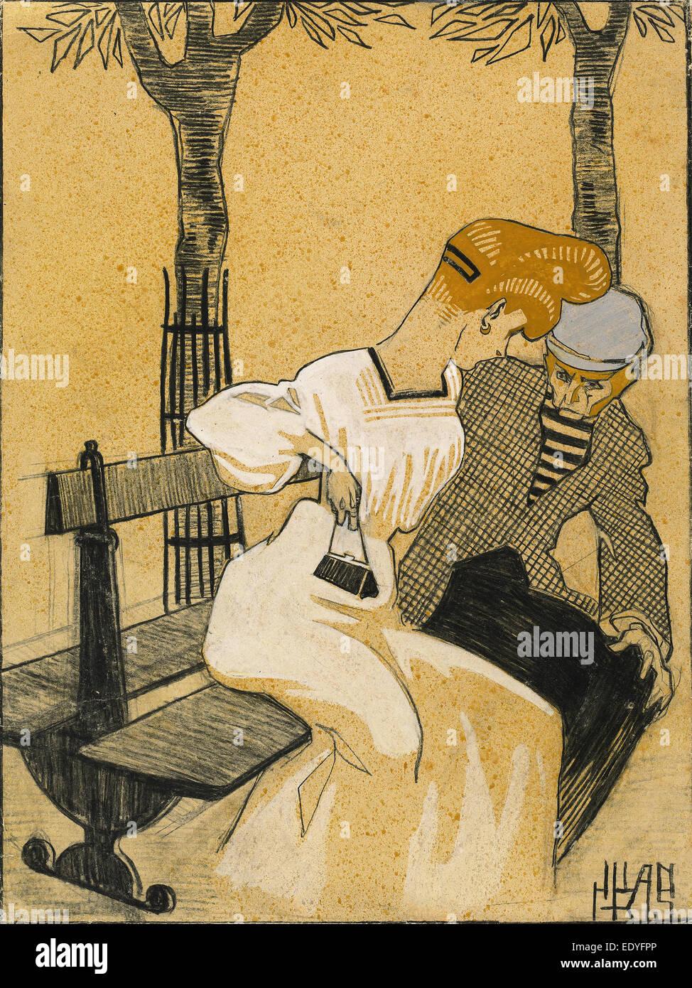 Juan Gris, el hombre y la mujer en un banco, Español, 1887- 1927, 1908-1909, carbón, aguada y acuarela Imagen De Stock