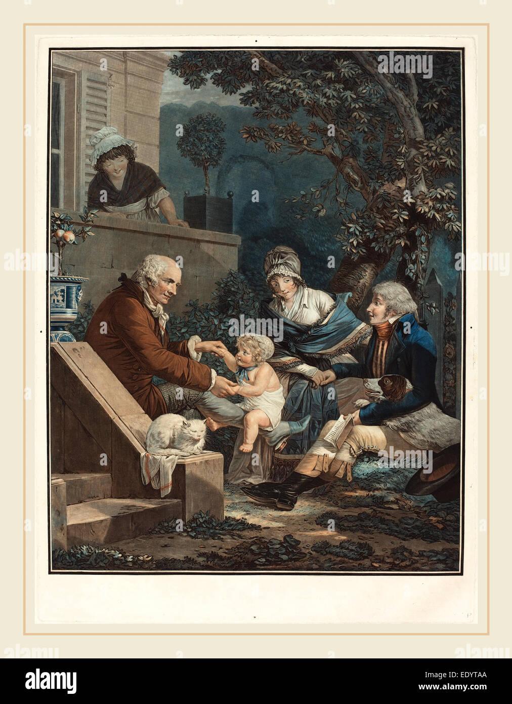 Philibert-Louis Debucourt, Francés (1755-1832), Les Plaisirs paternels placeres (Paterno), c. 1797, aguafuerte Imagen De Stock