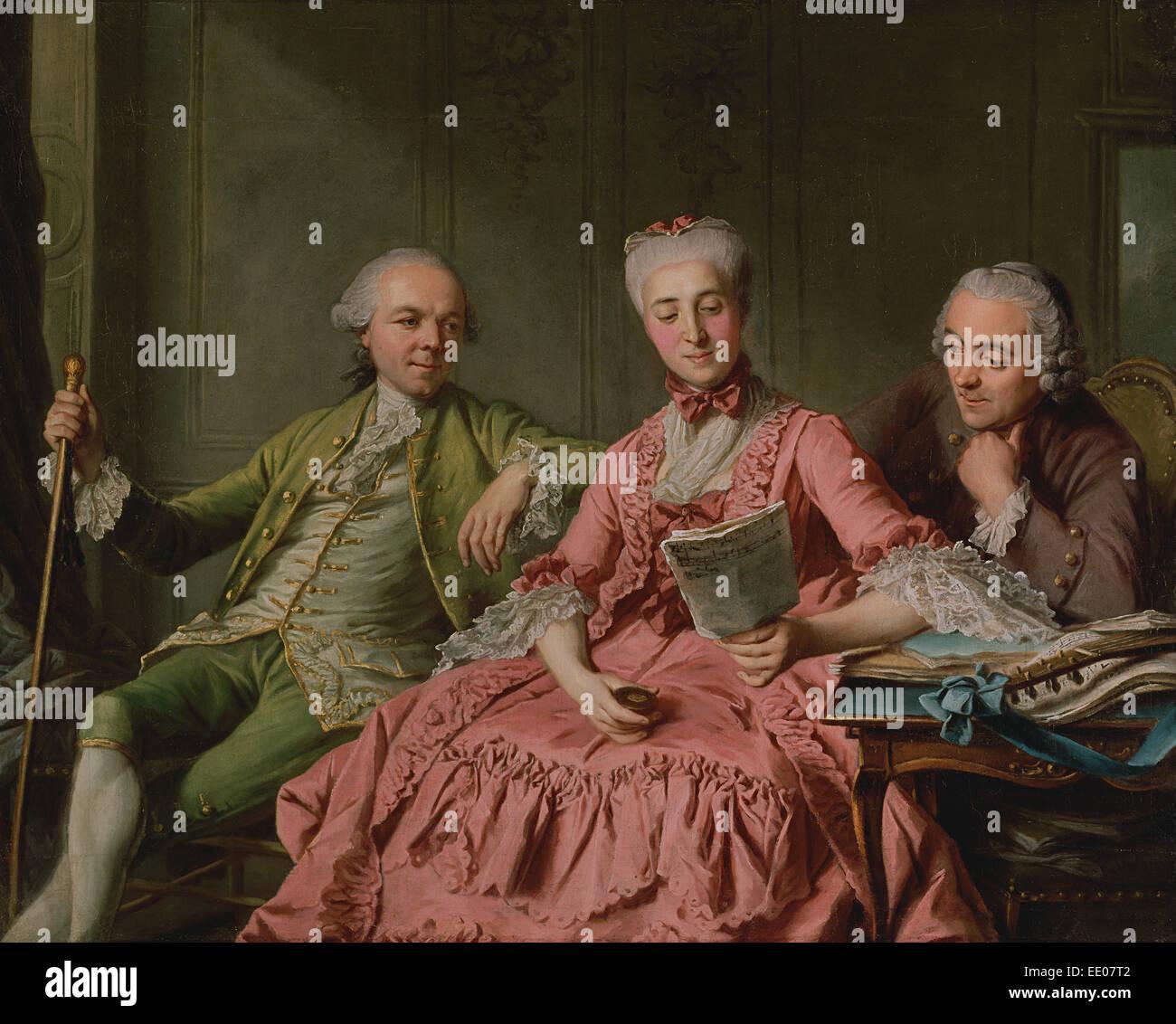 Presunto retrato del Duc de Choiseul y dos compañeros; Jacques Wilbaut, Francés, 1729 - alrededor de 1816; Imagen De Stock