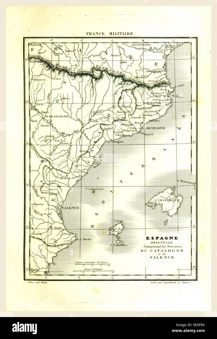 Mapa, España, Cataluña, Valencia, grabado del siglo XIX. Imagen De Stock