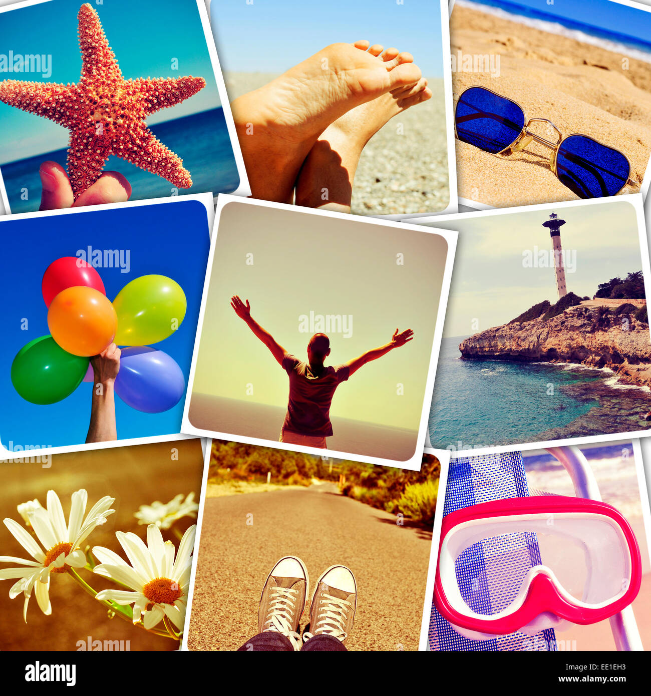 Mosaico con imágenes de verano, baleado por mí, simulando una pared de instantáneas subidos a servicios Imagen De Stock
