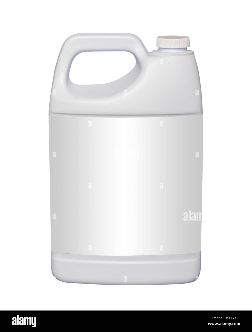 Galón jarra de plástico blanco, aislado con trazado de recorte Foto de stock