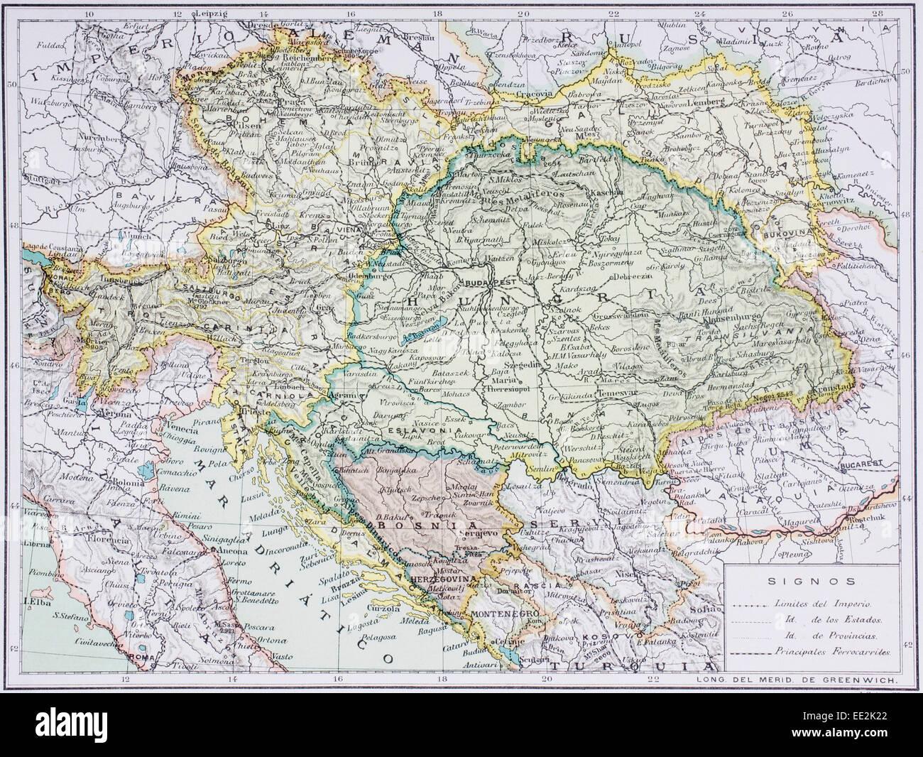 Mapa del Imperio Austro-Húngaro en el siglo 20. Mapa está en idioma español. Imagen De Stock
