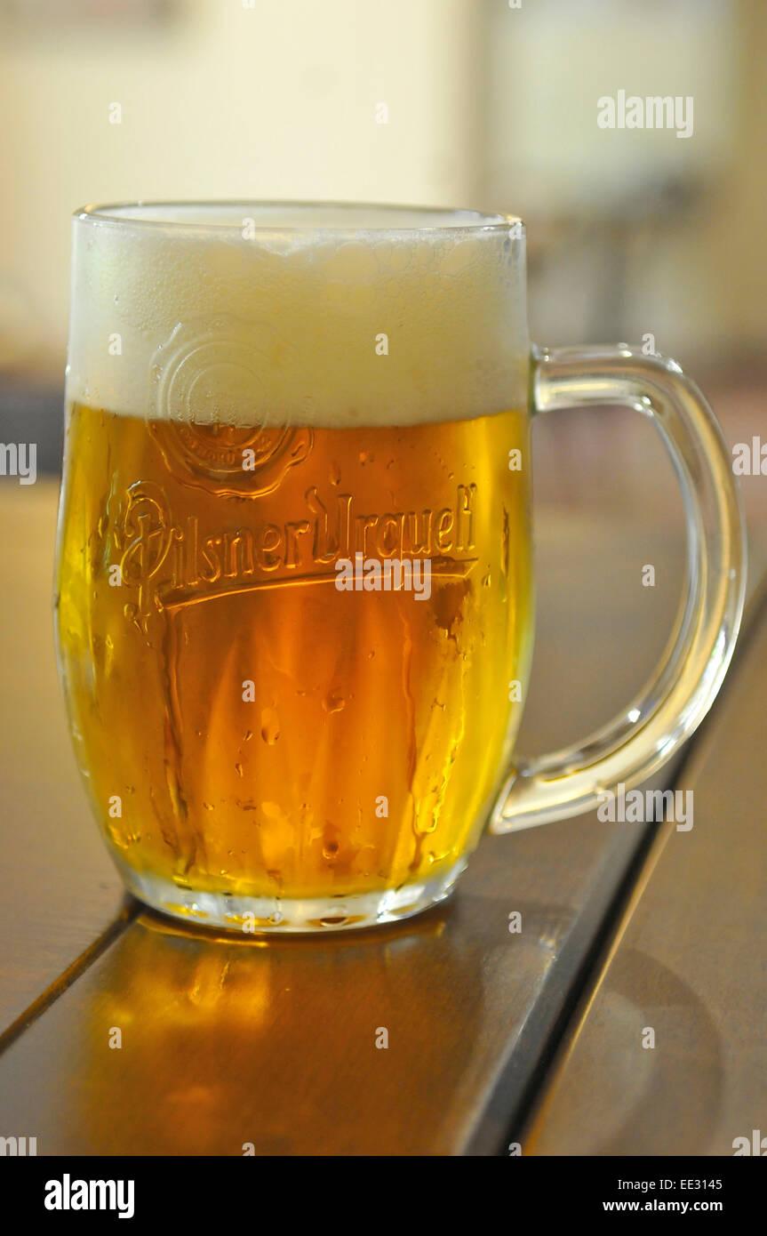 Pinta de cerveza Pilsner Urquell Foto de stock