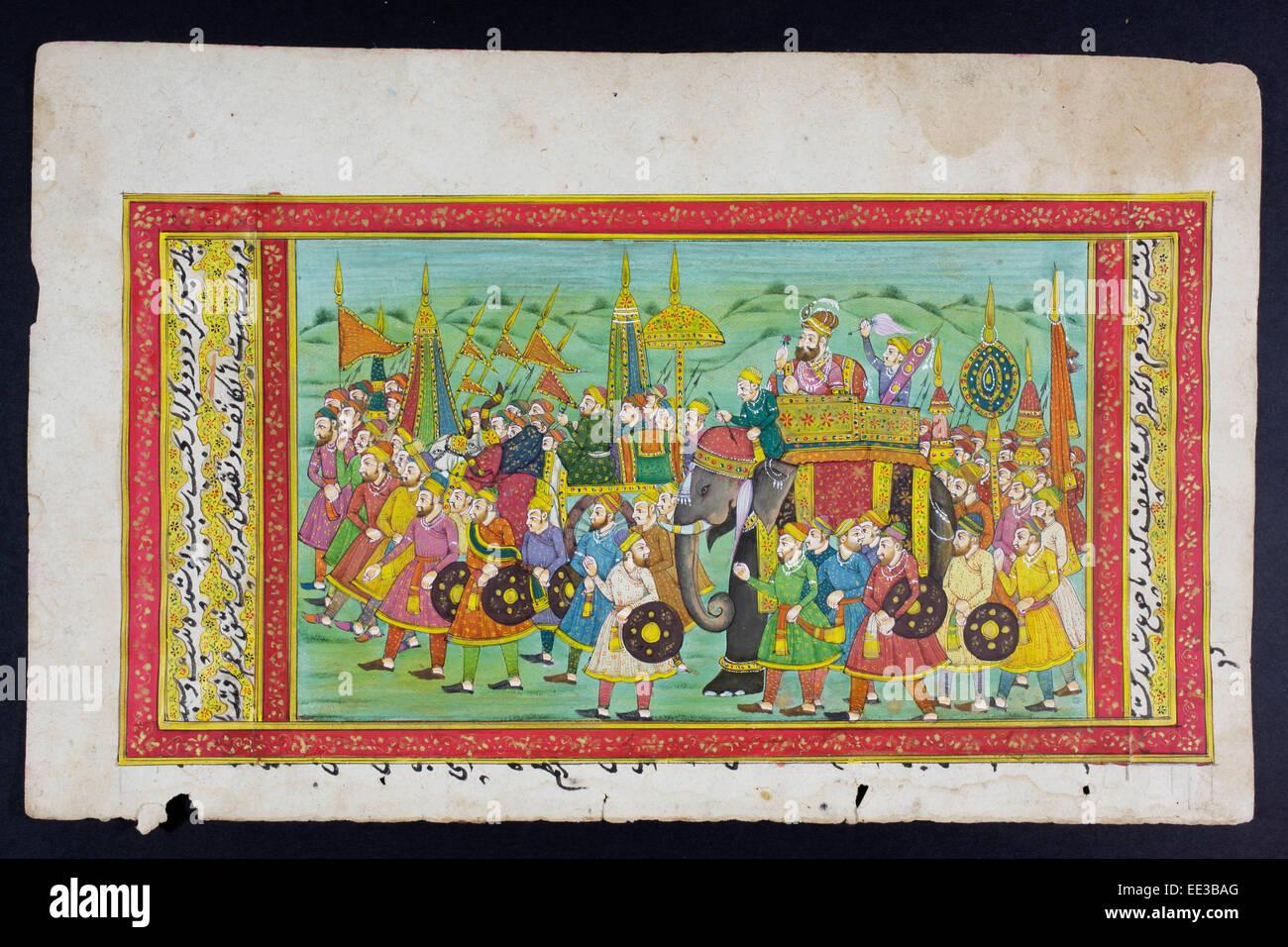 Rajasthani pintura en miniatura de Rajasthan, India. Probablemente a finales del siglo XIX o principios del siglo Foto de stock