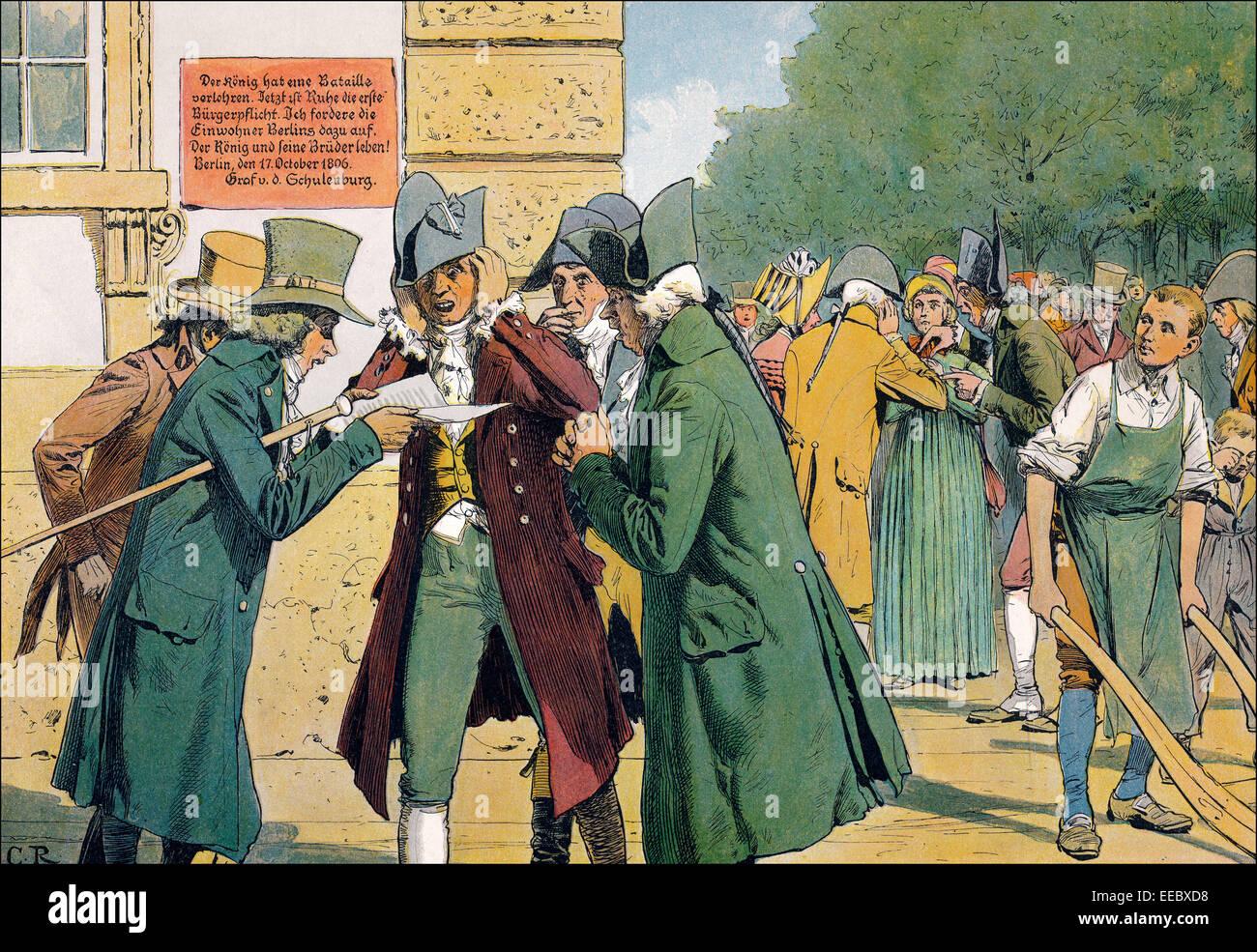 Contemplando la derrota en Jena y Auerstaedt en Berlín, Guerras Napoleónicas, 1806, pintura histórica por C. Röchling, publicación Foto de stock