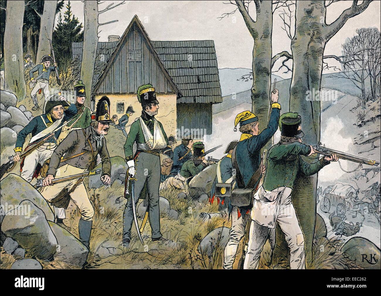 Las guerras napoleónicas, la guerra en la montaña del condado de Glatz o condado de Kladsko, 1807, pintura histórica por R. Knötel Publishin, Foto de stock