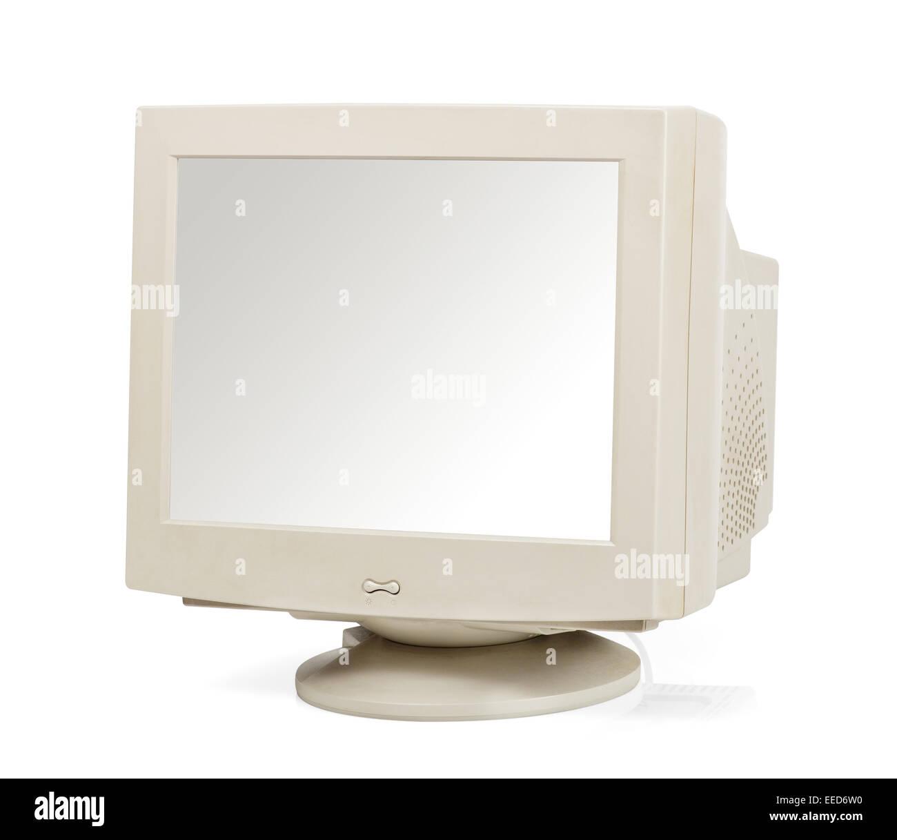 Monitor de ordenador Vintage aislado en blanco Imagen De Stock