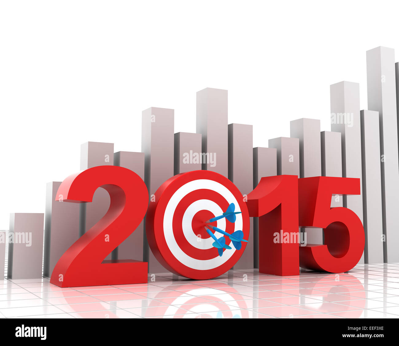 Objetivo de 2015 Antecedentes con gráfico de barras Imagen De Stock