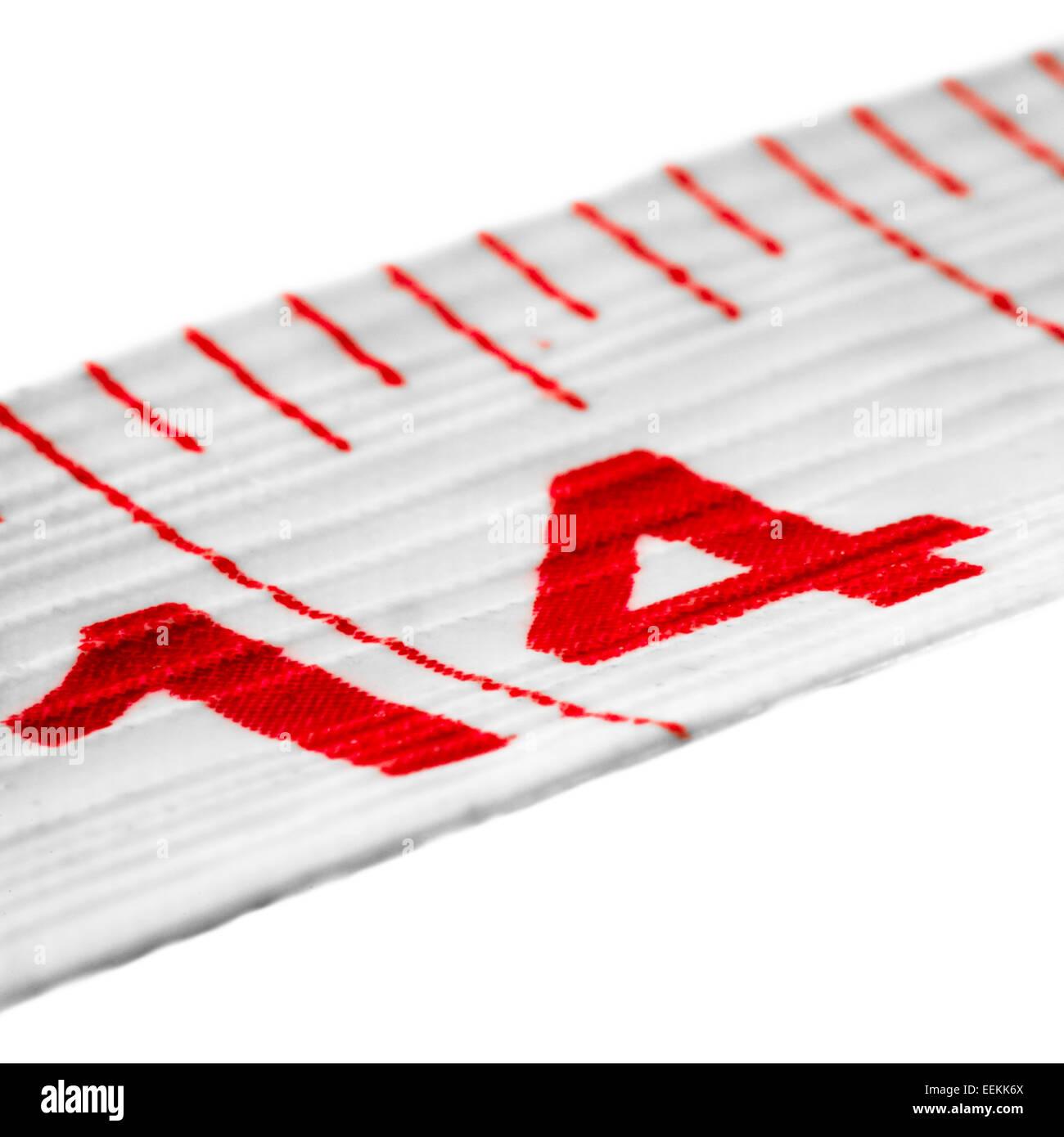 El número catorce en una cinta métrica Imagen De Stock