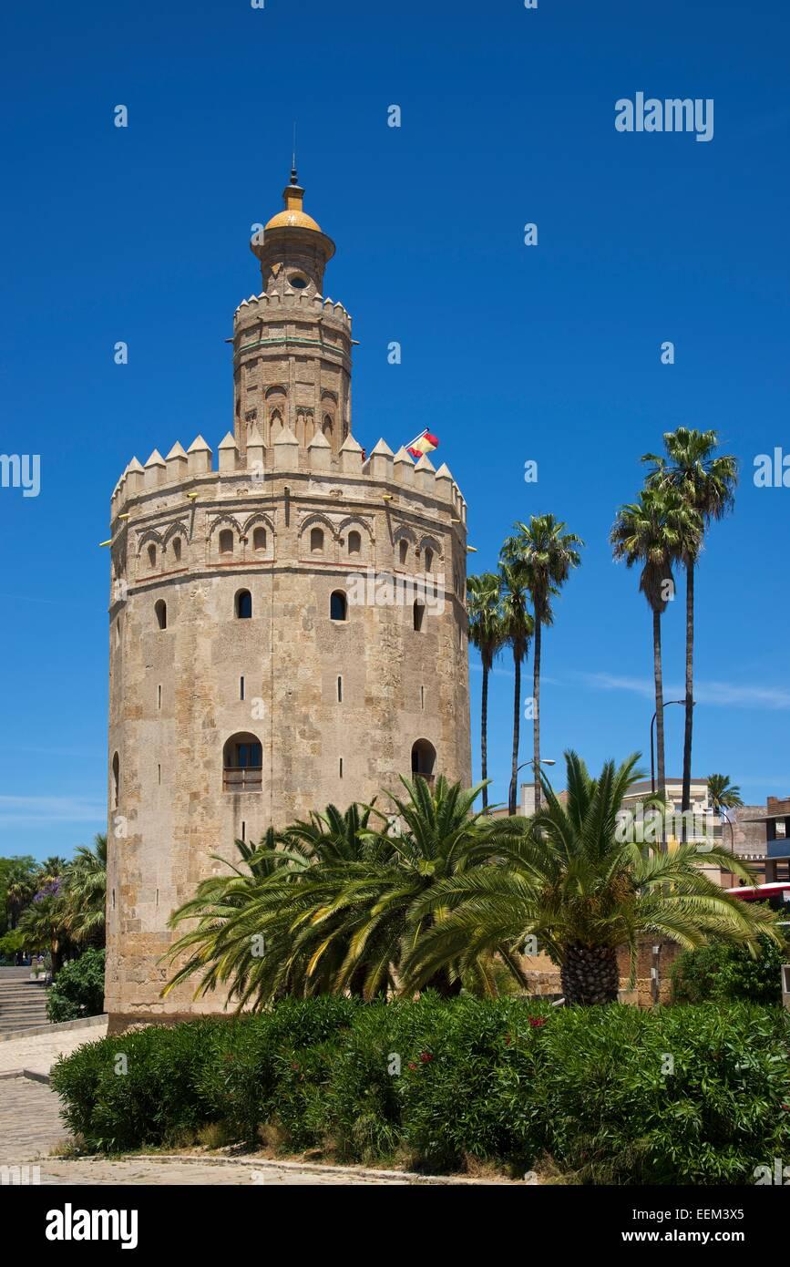 Torre del Oro en la orilla del río Guadalquivir, Sevilla, Andalucía, España Imagen De Stock