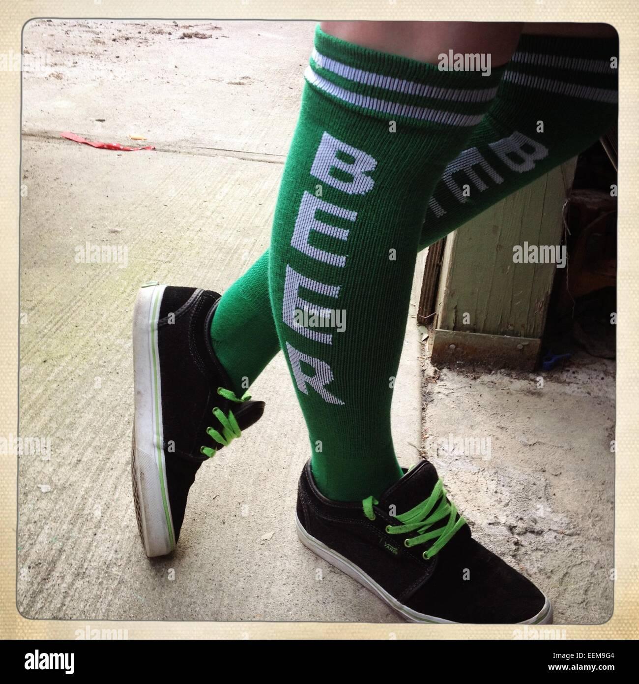 Gracioso cerveza verde calcetines Imagen De Stock