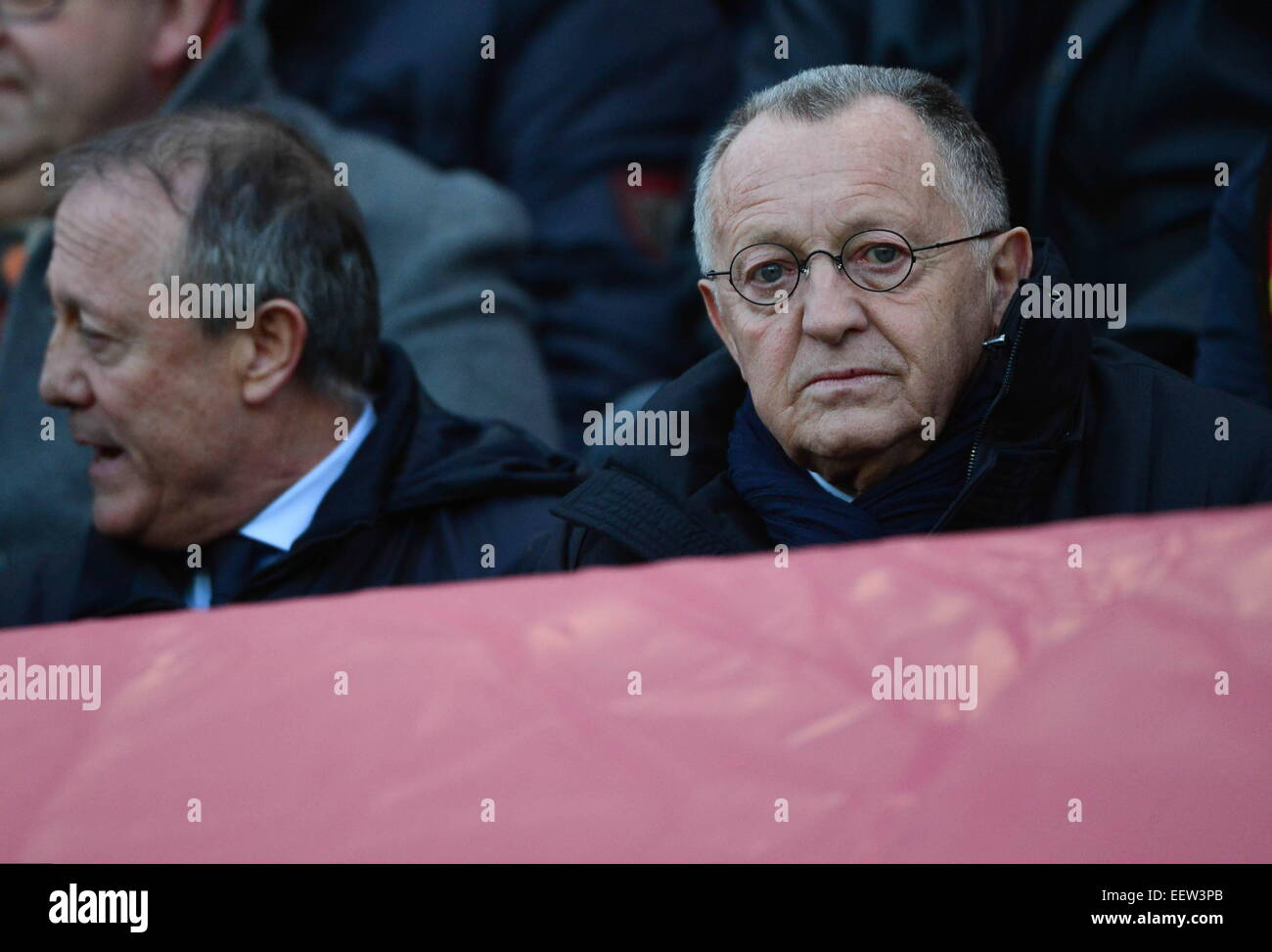 Jean Michel aulas - 17.01.2015 - Lente/Lyon - 21eme journee Ligue 1.Foto: Dave Winter/Icon Sport Foto de stock