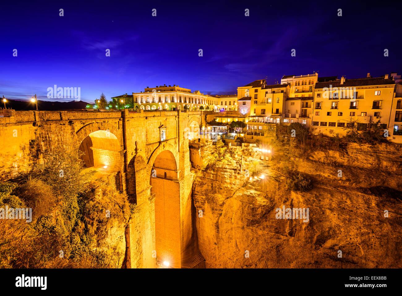 Ronda, España en Puente Nuevo Puente. Imagen De Stock