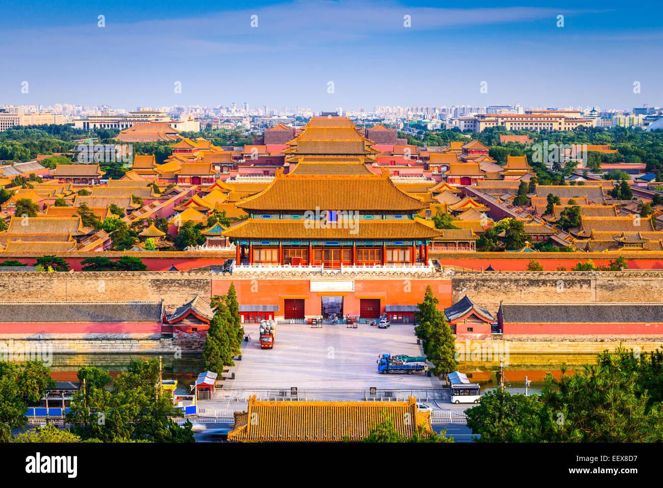 Beijing, China el horizonte de la ciudad en la Ciudad Prohibida. Foto de stock