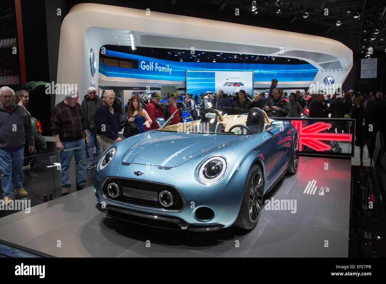 Detroit, Michigan - BMW MINI Superleggera Vision concept car en la exhibición en el North American International Imagen De Stock