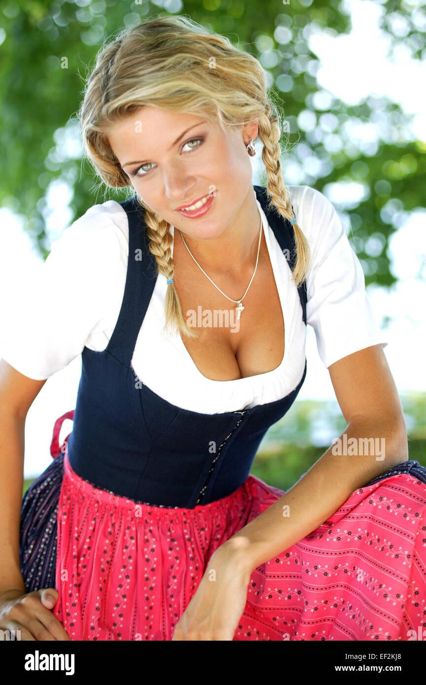 Frau, dirndl, Halbportrait, Jung, blonde, Dirndlkleid