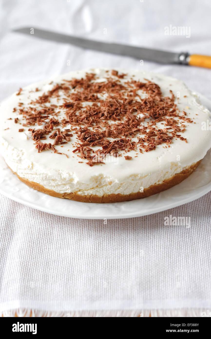 Cheesecake con virutas de chocolate Foto de stock