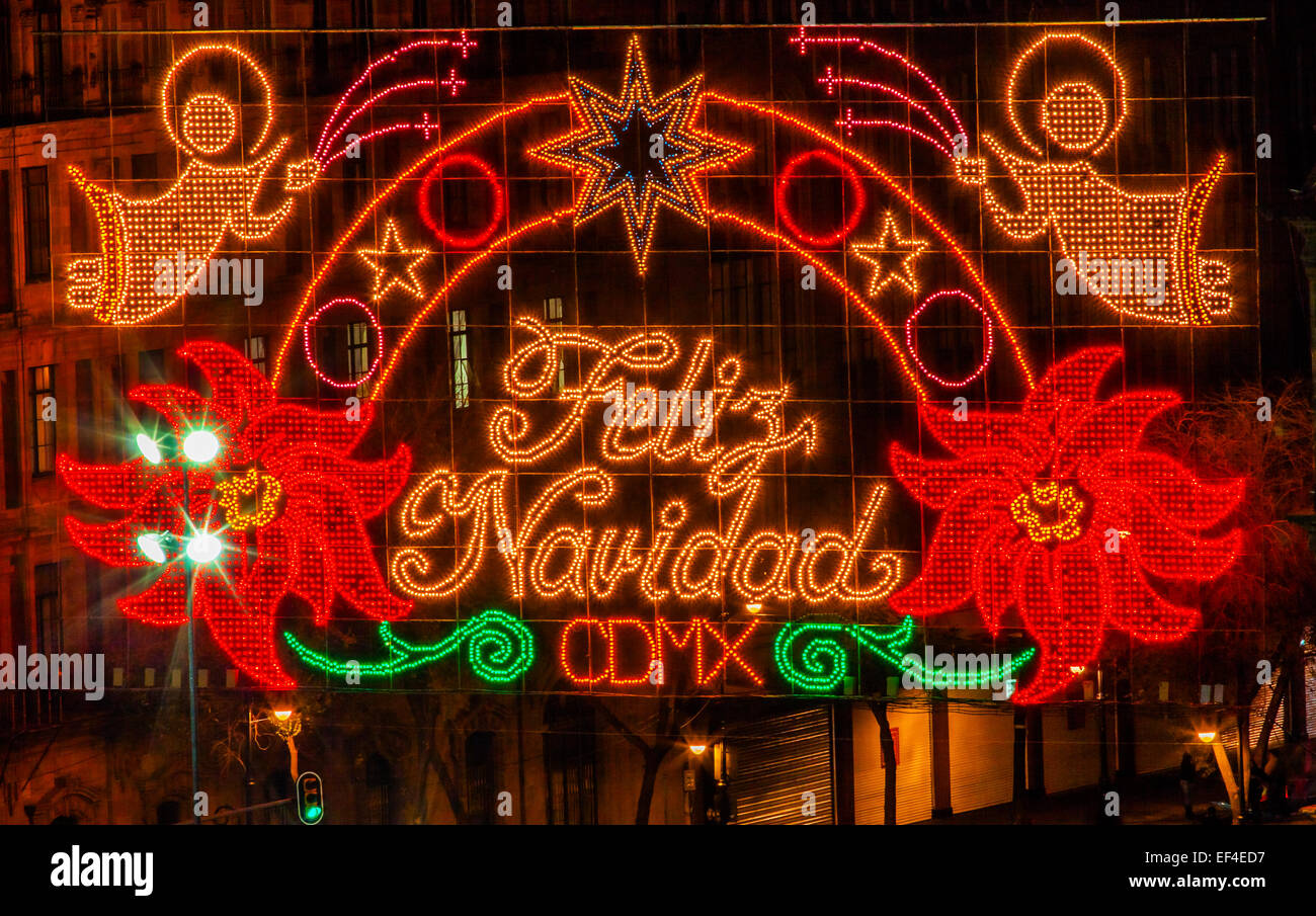 Plaza zócalo de la Ciudad de México La Noche de Navidad Celebración, Feliz Navidad es español Imagen De Stock