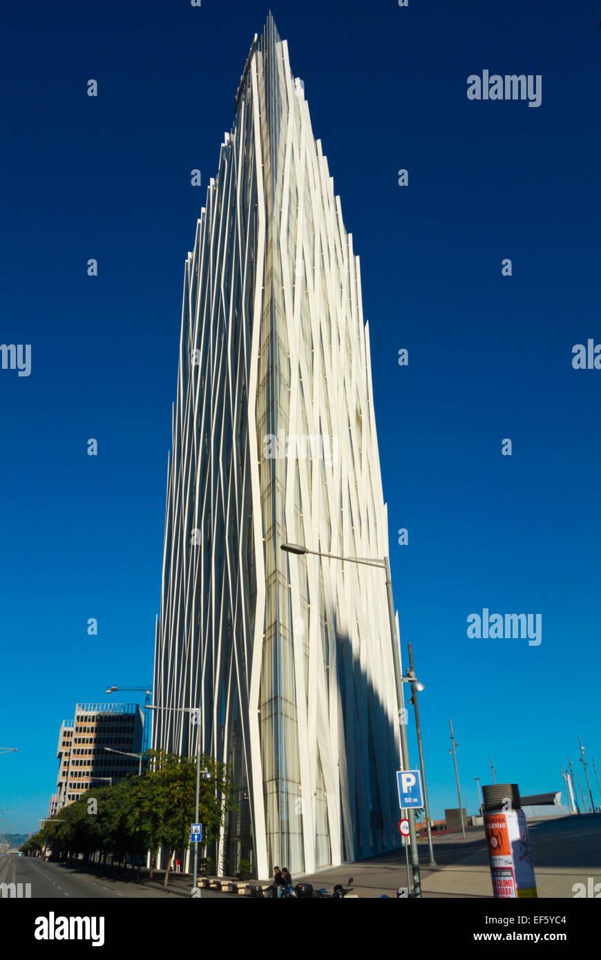Edificio Torre Diagonal Zero Zero, la zona Fórum Diagonal Mar, distrito de Sant Marti, Barcelona, España Imagen De Stock
