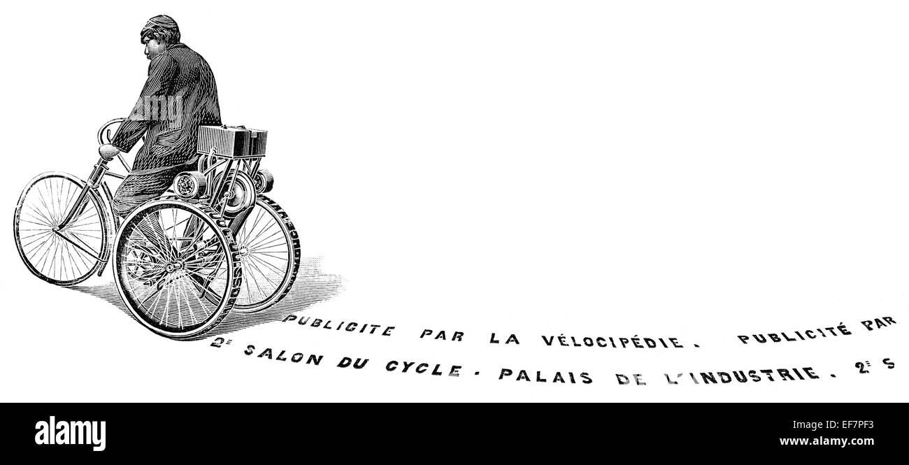 Un triciclo imprimir publicidad en la carretera, nueva patente, del siglo XIX. Foto de stock