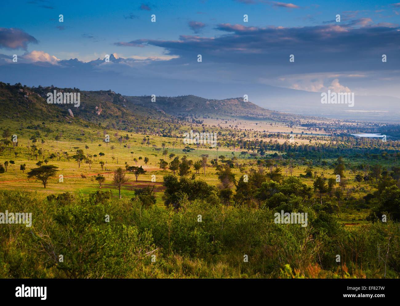 El distrito Lakipia en la región central de Kenya, en el Ecuador, mirando al sur hacia el Monte Kenya Imagen De Stock