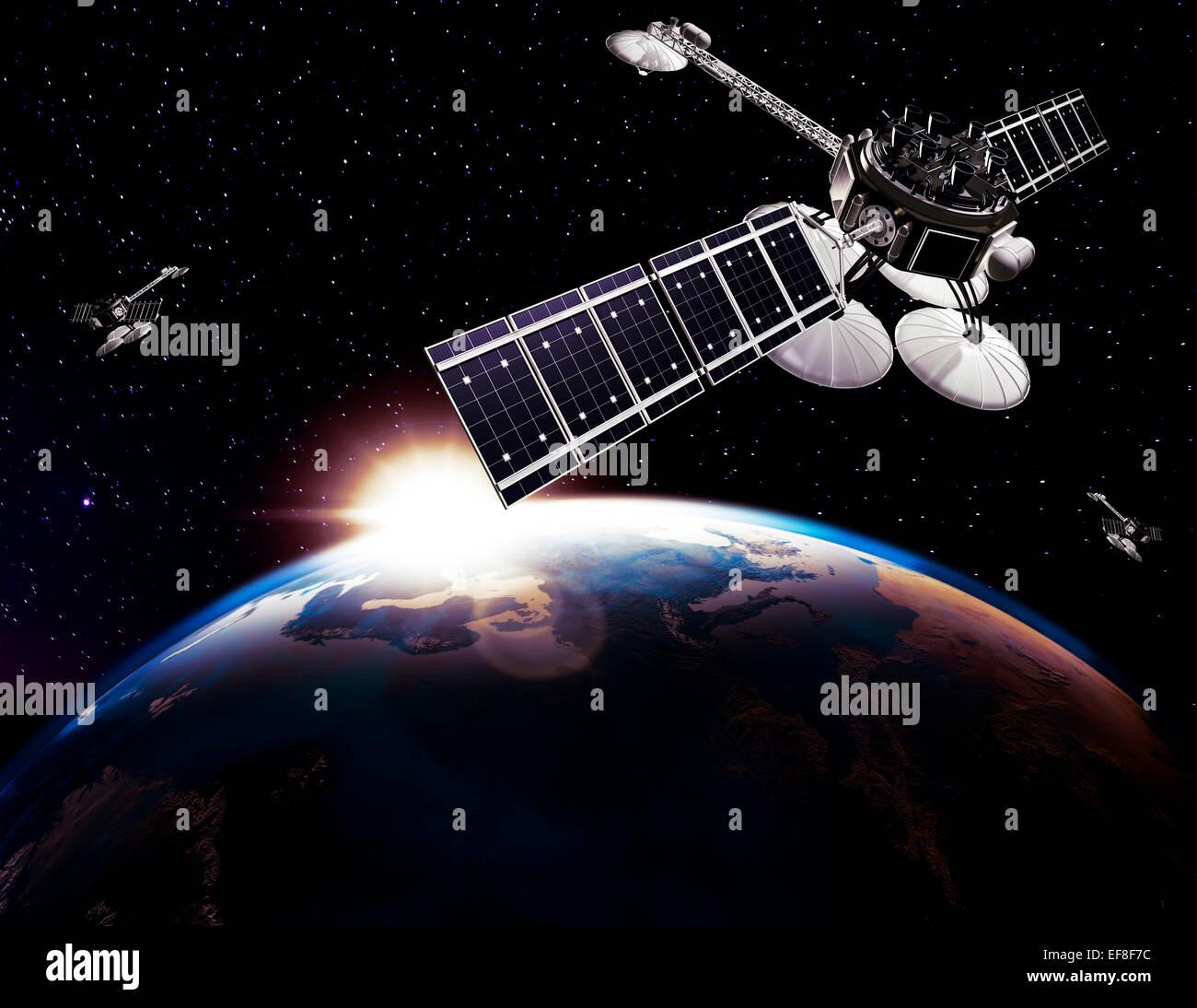 Los satélites de comunicaciones, Comsat, por encima de la tierra globo iluminado por el sol negro sobre fondo Imagen De Stock