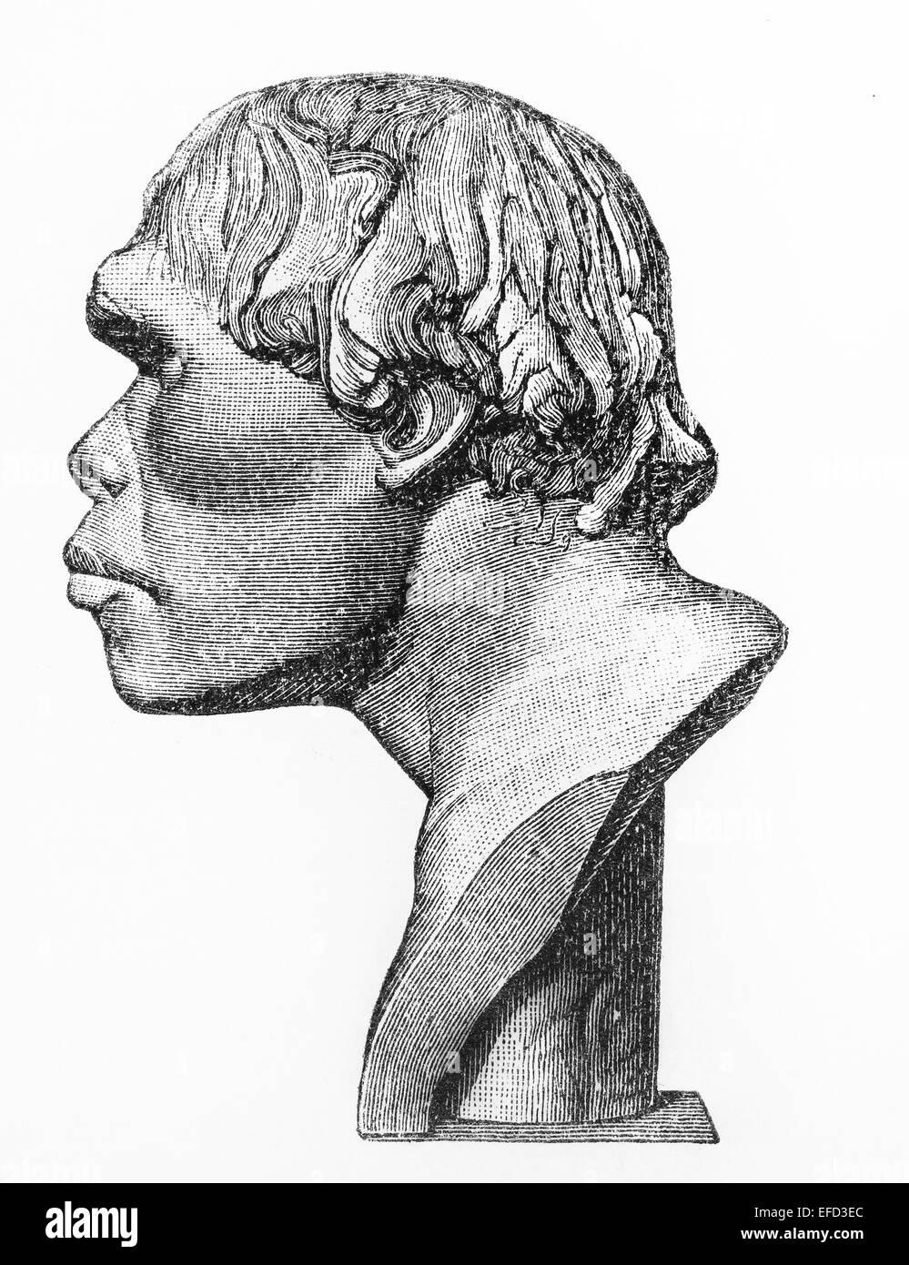 Vintage del siglo XIX Antiguo dibujo que representa una cabeza humana Neandertal Imagen De Stock