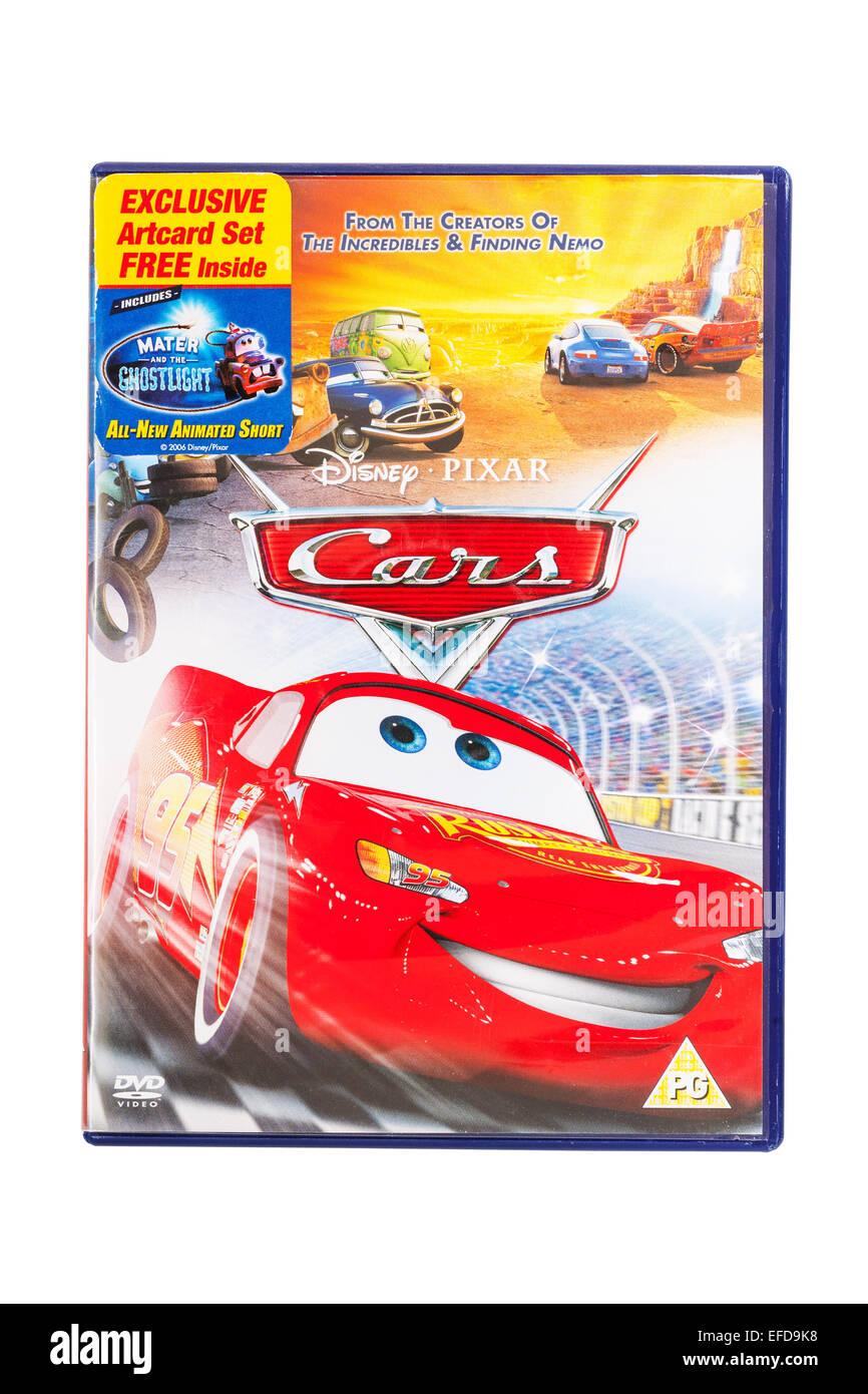 Los coches película DVD en un fondo blanco. Imagen De Stock