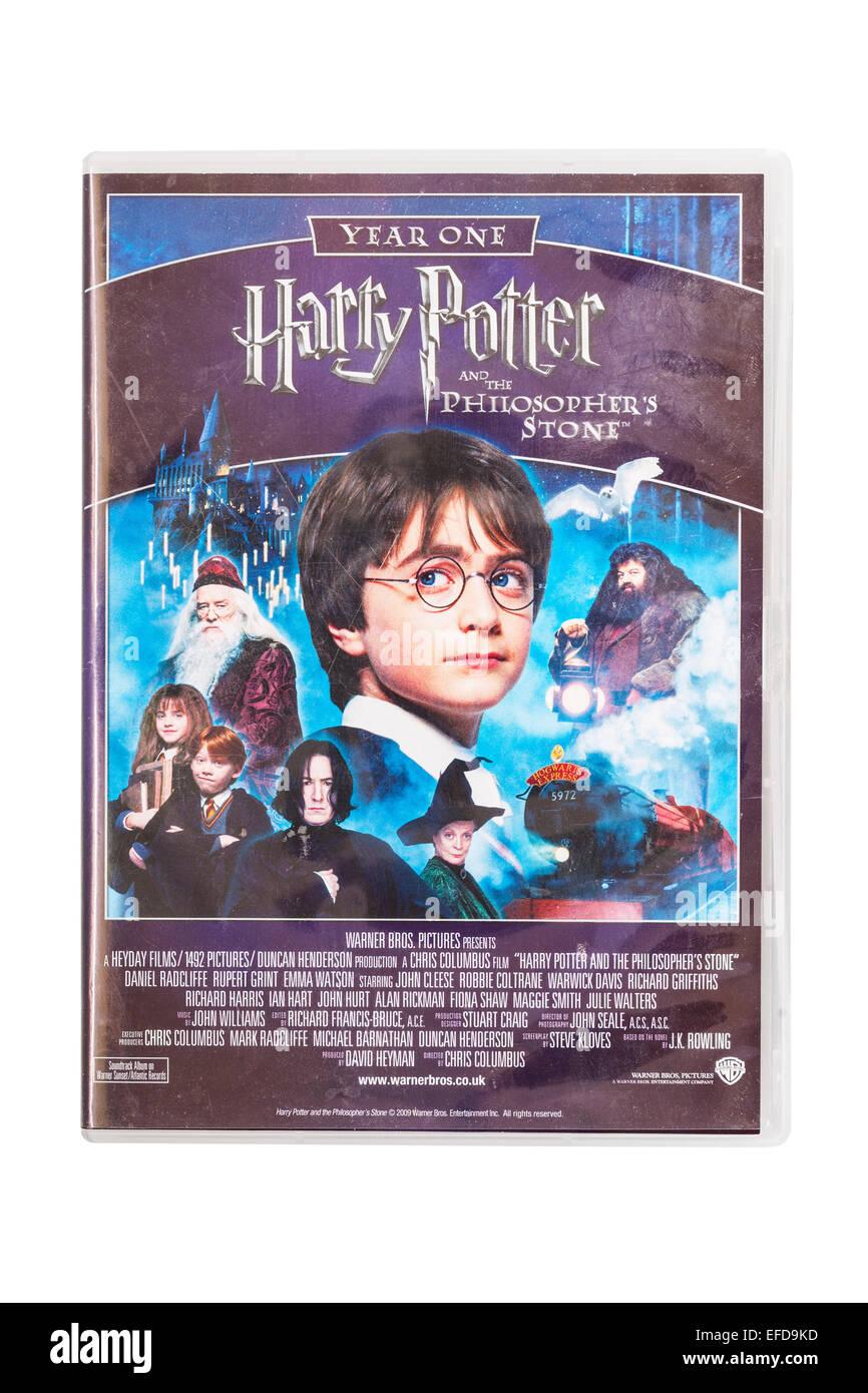 Harry Potter y la piedra filosofal película DVD en un fondo blanco. Foto de stock