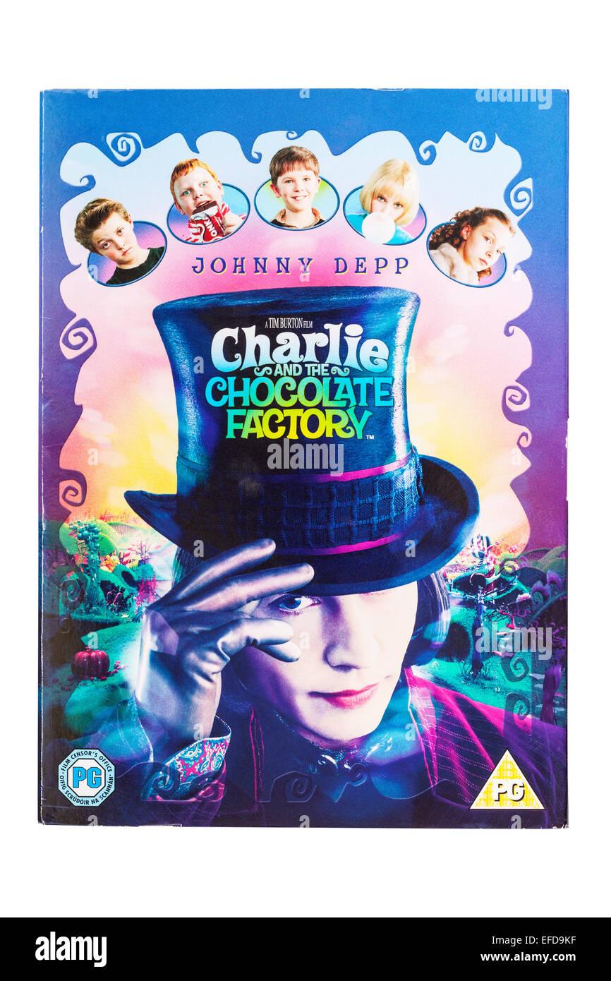 Charlie y la Fábrica de Chocolate la película DVD en un fondo blanco. Imagen De Stock