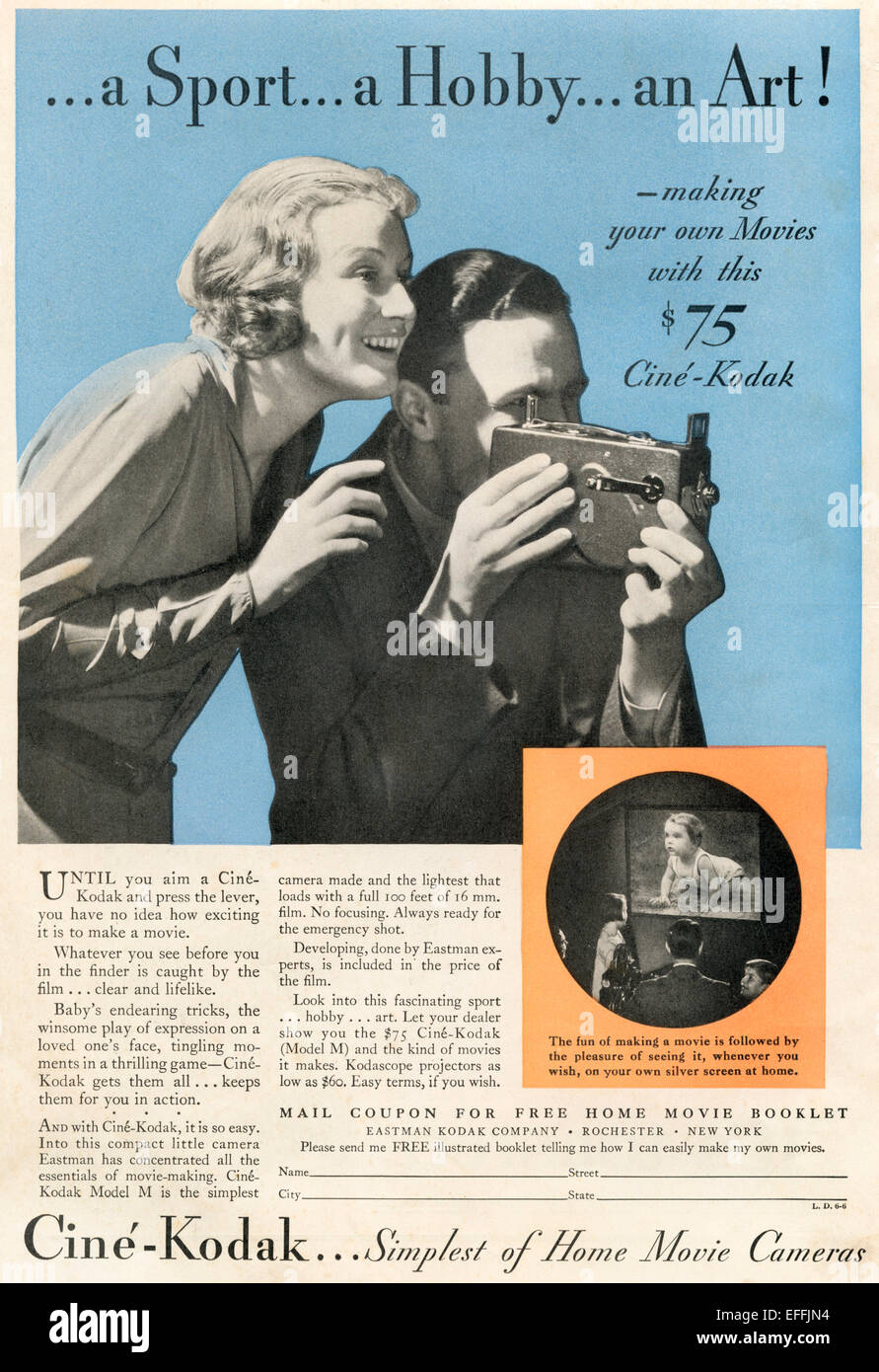 1930 Anuncio Americano para el hogar Ciné-Kodak cámara de cine. Imagen De Stock