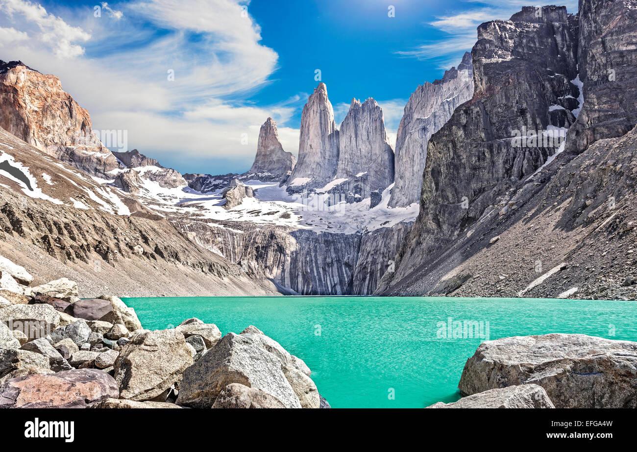 Montañas de Torres del Paine, Patagonia, Chile Imagen De Stock