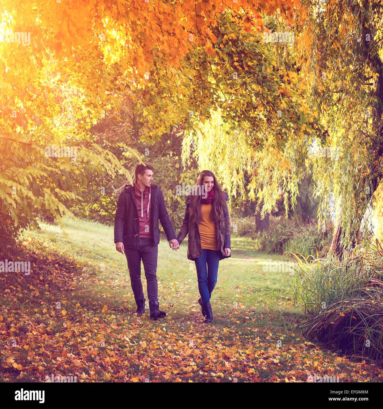 Pareja tomados de la mano caminando en el bosque en otoño Foto de stock