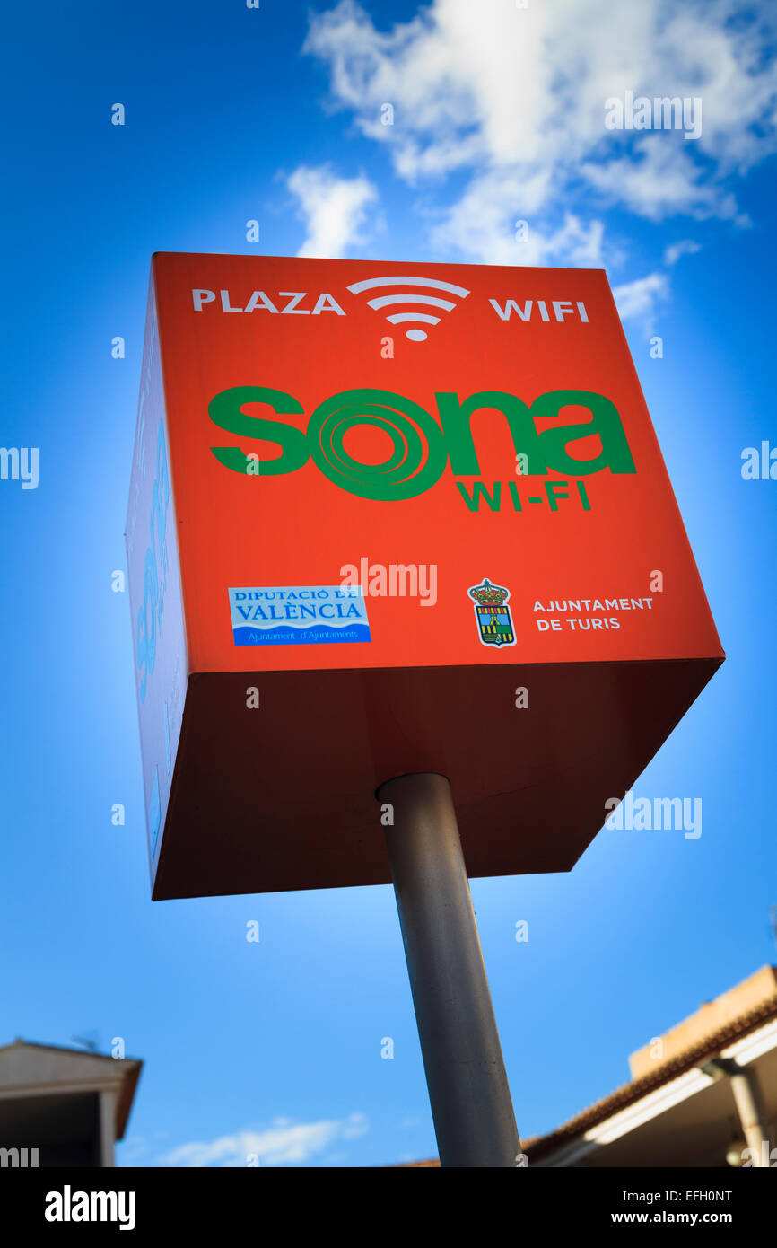 Señal Wi-Fi Plaza en Turis España Imagen De Stock