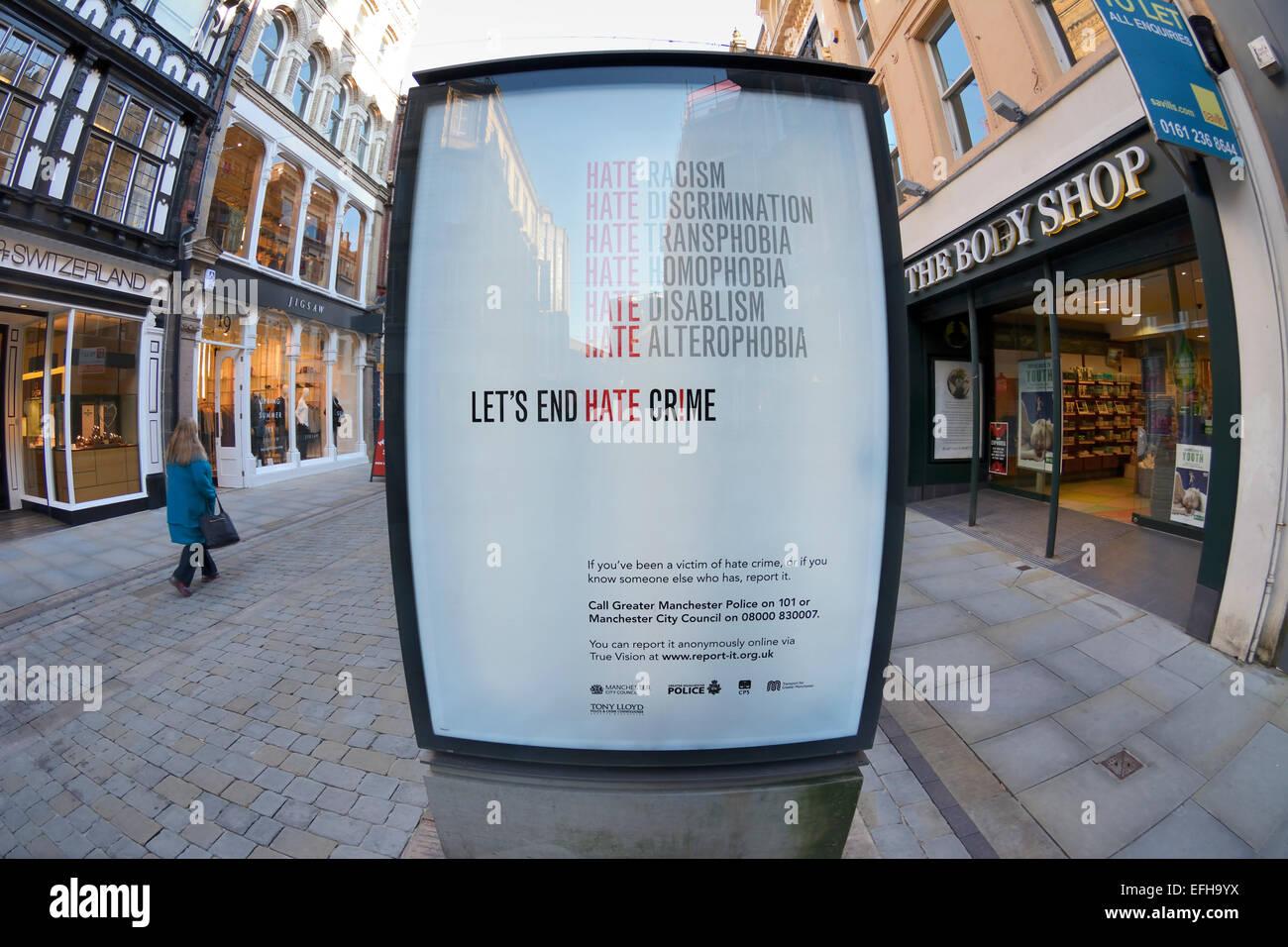 "Señal luminosa contra el ""odio rimes' en King Street, Manchester. Imagen De Stock"