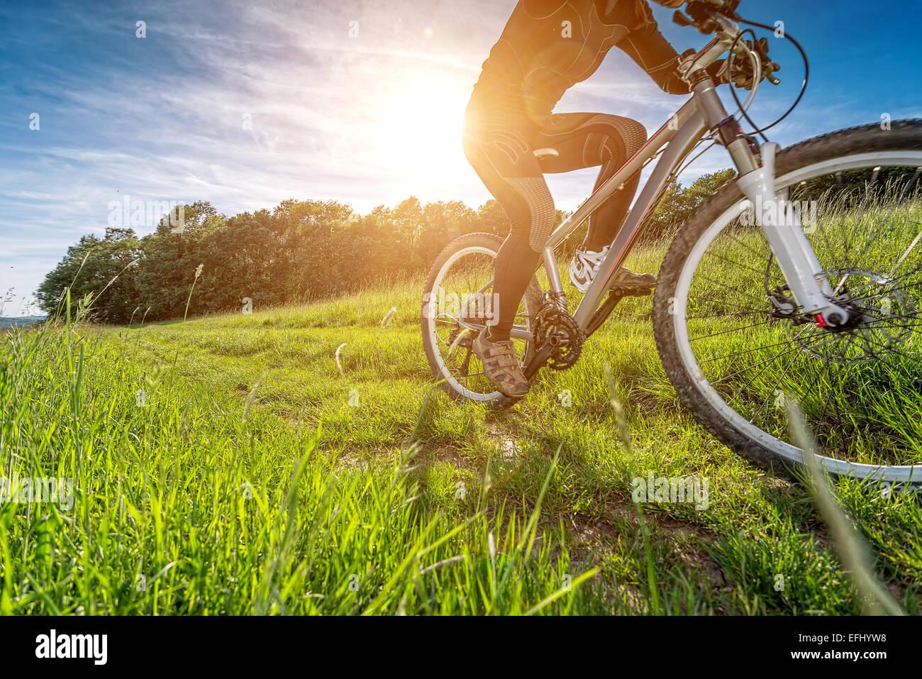 Moto deportiva, ciclismo en la pradera hermosa, detalle fotográfico, Imagen De Stock