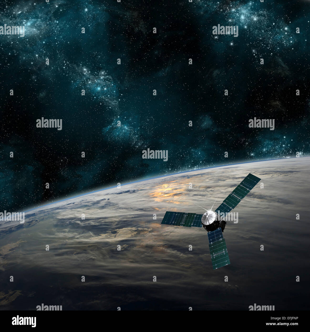 Una sonda espacial investiga un hermoso planeta cubierto de nube en el espacio ultraterrestre. Remolino de nubes Imagen De Stock
